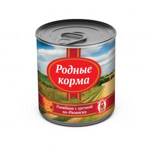 Консервы длясобак Родные корма говядина сгречкой по-Рязански, 525 гр