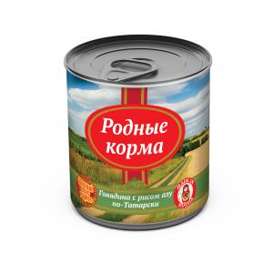 Консервы длясобак Родные корма говядина срисом азу по-Татарски, 525 гр