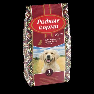 РОДНЫЕ КОРМА сухой корм длявзрослых собак всех пород 20/10, 1 Пуд, (16,38 кг) и5 Русских фунтов (2,045 кг)