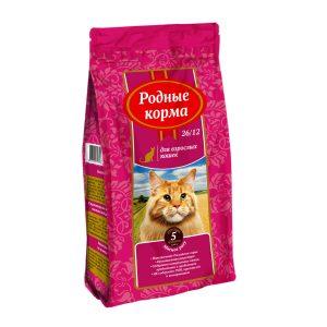 РОДНЫЕ КОРМА сухой корм длявзрослых кошек МЯСНОЕ РАГУ 26/12 5 Фунтов (2,045 кг)