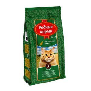 РОДНЫЕ КОРМА сухой корм длявзрослых кошек БАРАШЕК 26/12 1 Фунт (0,409 кг)