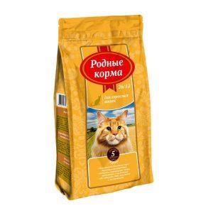 РОДНЫЕ КОРМА сухой корм длявзрослых кошек КУРИЦА 26/12 5 Фунтов (2,045 кг)