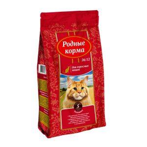 РОДНЫЕ КОРМА сухой корм длявзрослых кошек ТЕЛЯТИНА 26/12 5 Фунтов (2,045 кг)