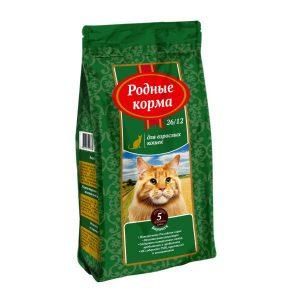 РОДНЫЕ КОРМА сухой корм длявзрослых кошек БАРАШЕК 26/12 5 Фунтов (2,045 кг)