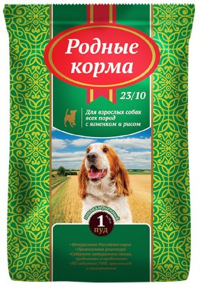 РОДНЫЕ КОРМА сухой корм длявзрослых собак ягненок ирис, 1 Фунт (0,409 кг)