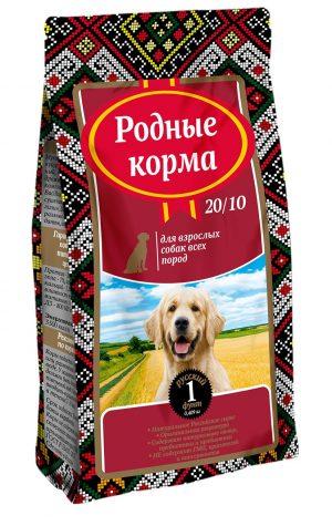 РОДНЫЕ КОРМА сухой корм длявзрослых собак всех пород 20/10, 1 русский фунт (409 гр)