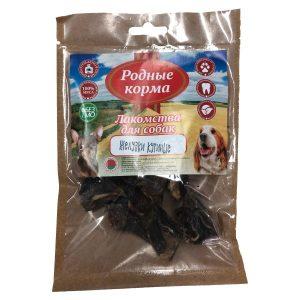 Лакомства РОДНЫЕ КОРМА длясобак мелких пород, желудки куриные, сушеные вдровяной печи, 35 гр