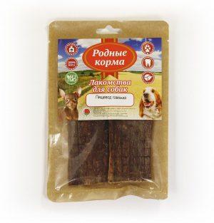 Лакомства РОДНЫЕ КОРМА длясобак мелких пород, пищевод говяжий сушеный, вдровяной печи, 20 гр
