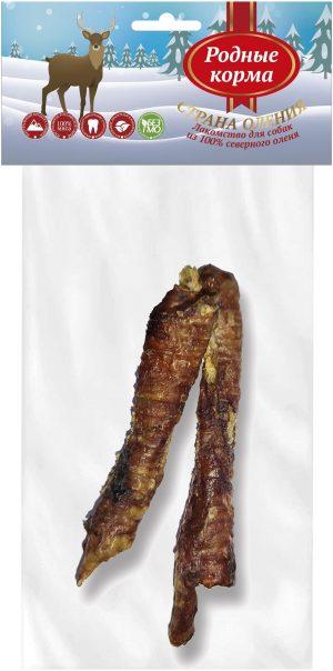 РОДНЫЕ КОРМА 100% трахея северного оленя цельная длясредних икрупных пород собак, 40-60 г