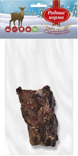 РОДНЫЕ КОРМА 100% хребет смясом северного оленя длямелких исредних пород собак, М 50-80 г