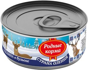 РОДНЫЕ КОРМА консервы длясобак оленина вбульоне, 100 г