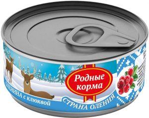 РОДНЫЕ КОРМА консервы длясобак оленина склюквой, 100 г