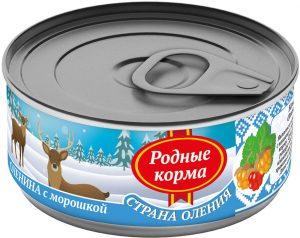 РОДНЫЕ КОРМА консервы длясобак оленина сморошкой, 100 г