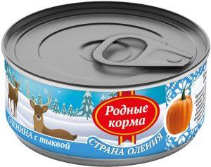 РОДНЫЕ КОРМА консервы длясобак оленина стыквой, 100 г