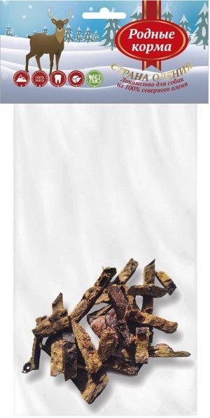РОДНЫЕ КОРМА 100 % легкое северного оленя длямелких пород собак, 30 г