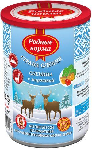 РОДНЫЕ КОРМА консервы длясобак оленина сморошкой, 400 г