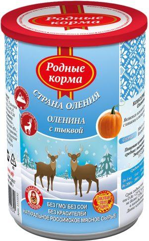 РОДНЫЕ КОРМА консервы длясобак оленина стыквой, 400 г