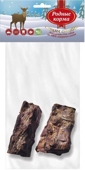 РОДНЫЕ КОРМА 100% хребет смясом северного оленя длясредних икрупных пород собак, 100-150 г